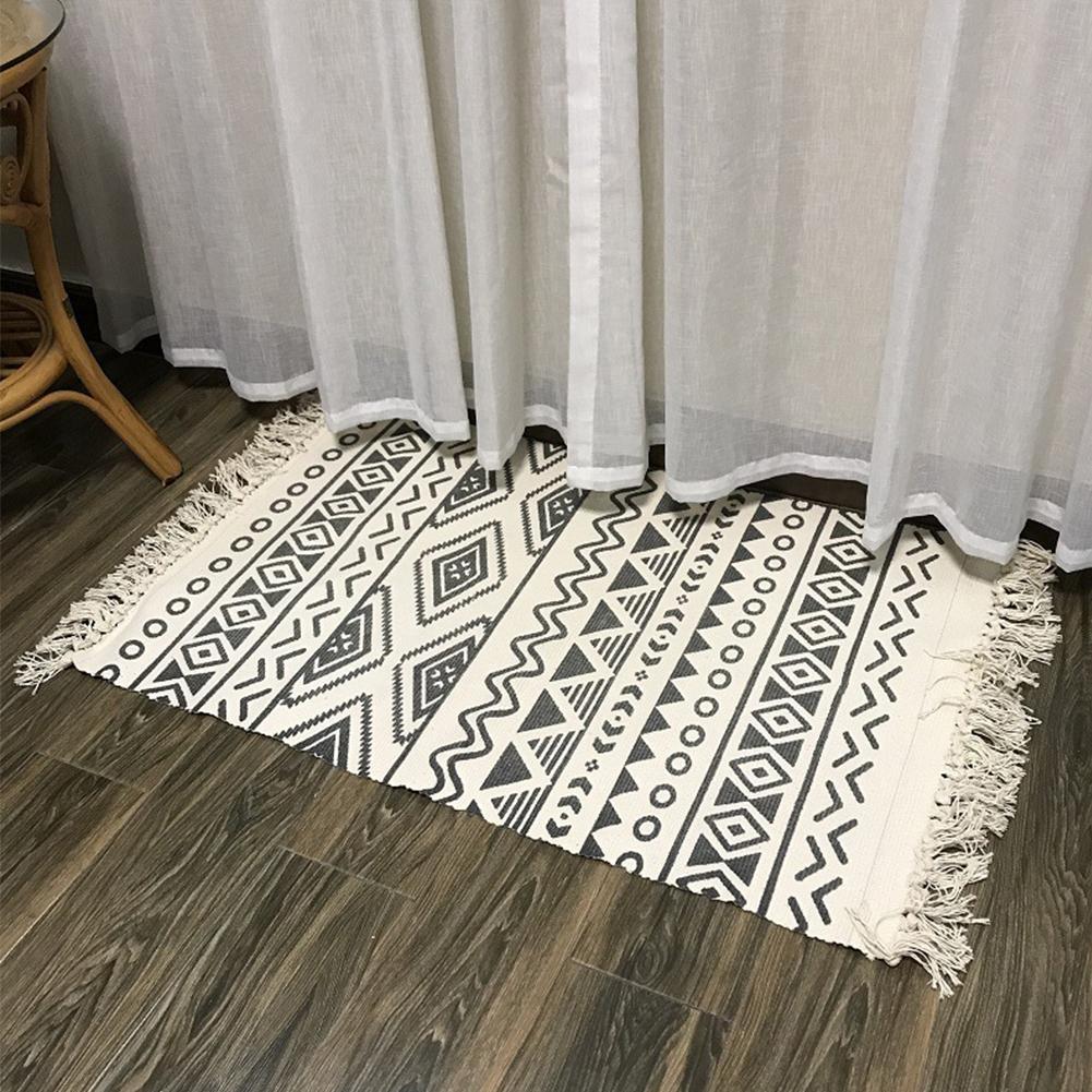 Borlas manual Quarto Algodão Tapete lavável de linho máquina Rug Impresso Tapestry
