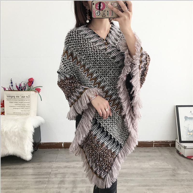 Этнический стиль Cape Вязаная Осень и зима пуловер мохер кисточкой шарф пальто Женская Длинные шали