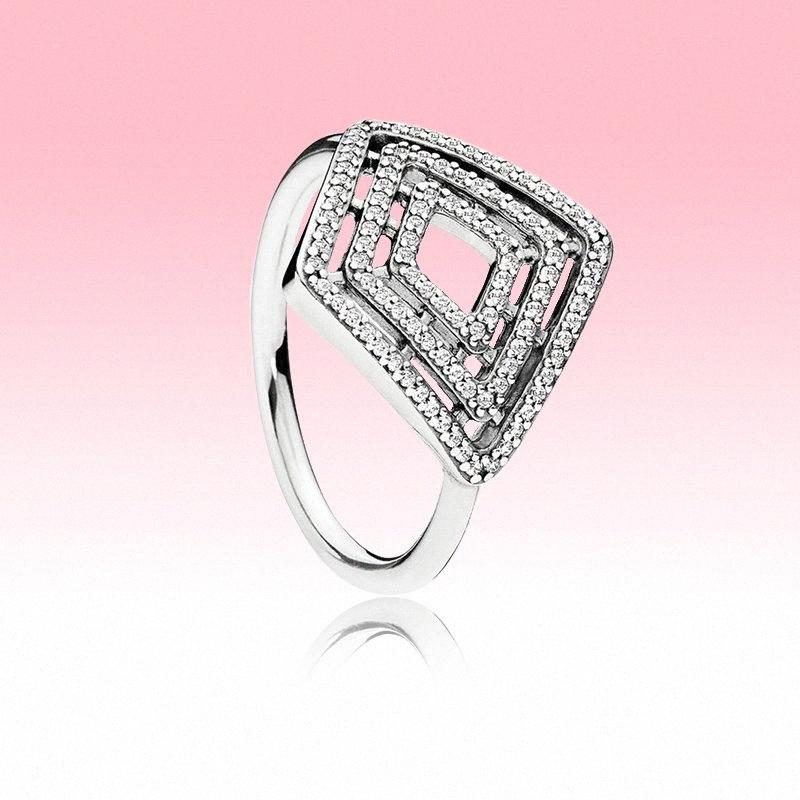 Authentique Argent 925 Anneaux de haute qualité bijoux de mariage pour Pandora cz géométrique Lignes Bague avec boîte originale pour les femmes 6LBo #