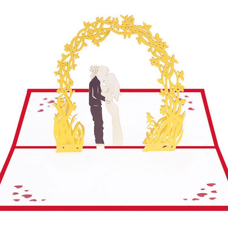 Cartes de voeux 3D pop-up découpe laser invitations de mariage à la main Kirigami Lovers de cadeaux Saint-Valentin