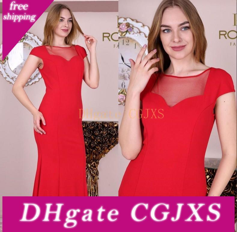 Madre elegante rojo vestidos de la novia de puro Longitud joya cuello piso madre de la novia Tamaño Plus huésped de la boda del partido Vestidos