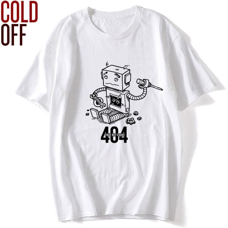 FRÍO OFF 100% algodón de manga corta 404 hombres de impresión robot camiseta o-cuello de los hombres sueltos camiseta fresca tapas de la camiseta hombres de camisetas