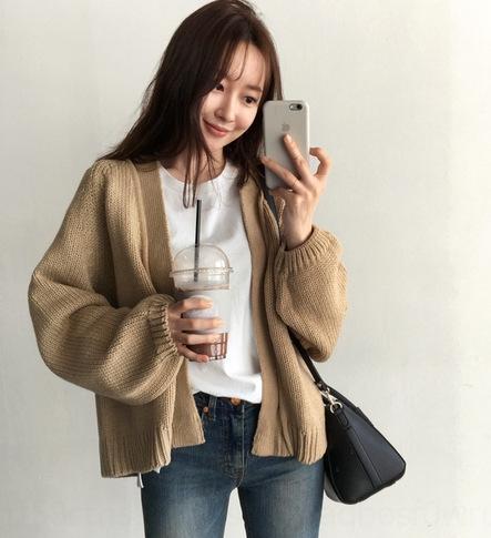igTTi MdoHP cardigan Nouveau style coréen lâche court paresseux chic, tricot manteau d'automne manteau de femme étudiante chandail chandail