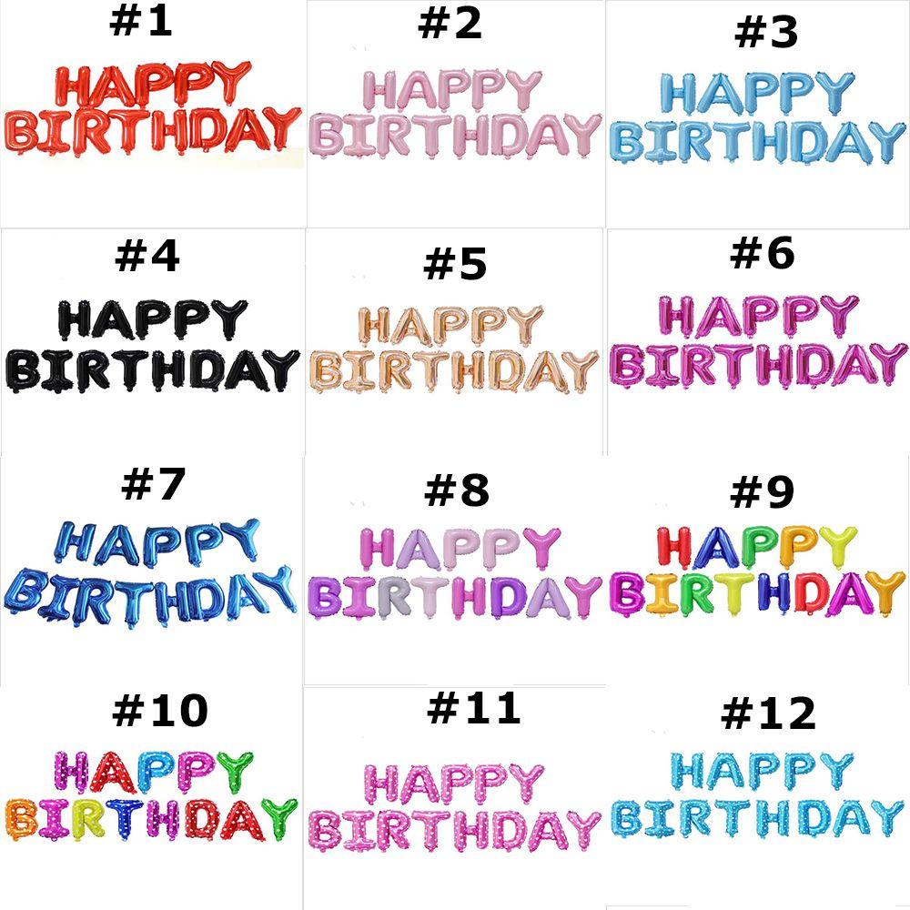 24 styles 16 pouces ballons d'anniversaire film lettre matériel en aluminium enfants fête d'anniversaire décoration ballon décoration de salle de mariage de mariage