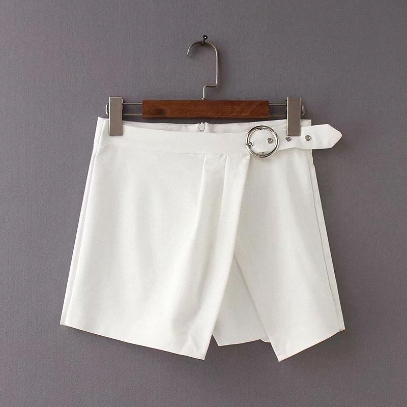 2018 Frauen Vinatge schwarz weiße Farbe unregelmäßige Ring Schärpen Shorts Damen beiläufige kurze Hosen pantalones cortos Querschlüsse P133 Spi9 #