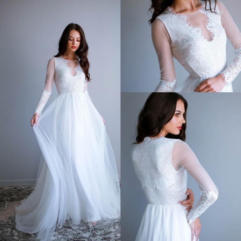 2021 Bohemian Свадебные платья с длинными рукавами Кружева Аппликации Пляж Свадебные платья Тюль Сад Линия Boho Свадебное платье