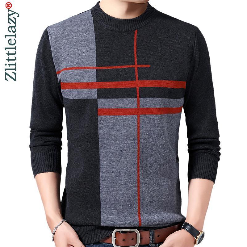 2020 Casual espessura quente inverno listrado malha Pull camisola do desgaste de homens Fashions Jersey Vestido Pullover Homens Knit Sweaters masculinos 02196 Q1113