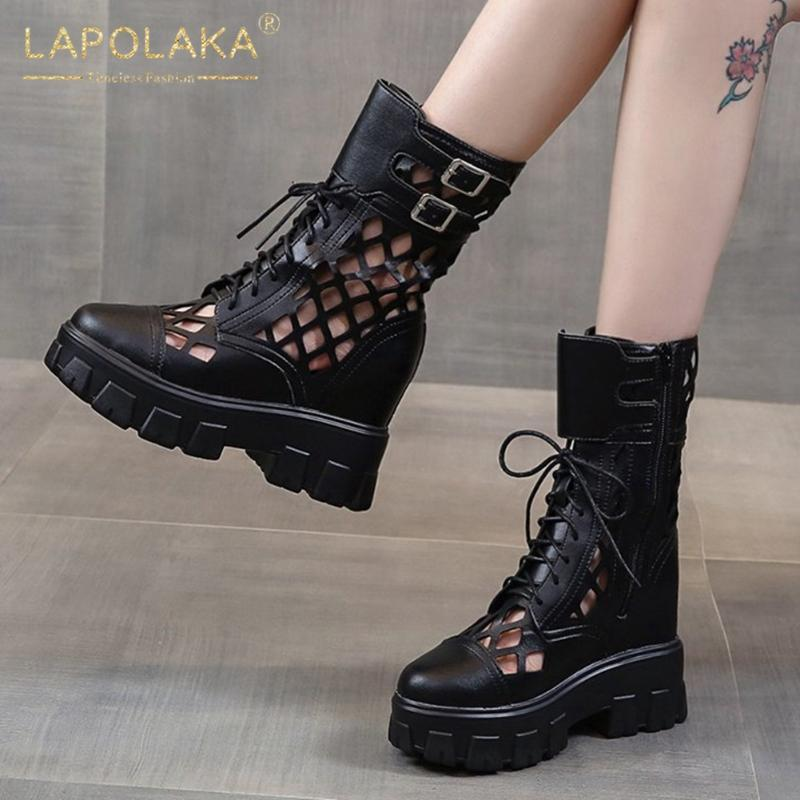 Tacchi Lapolaka 2020 di nuovo modo di cuneo di modo comodo Stivali donna Scarpe fibbia decorazioni piattaforma cerniera donna Stivali