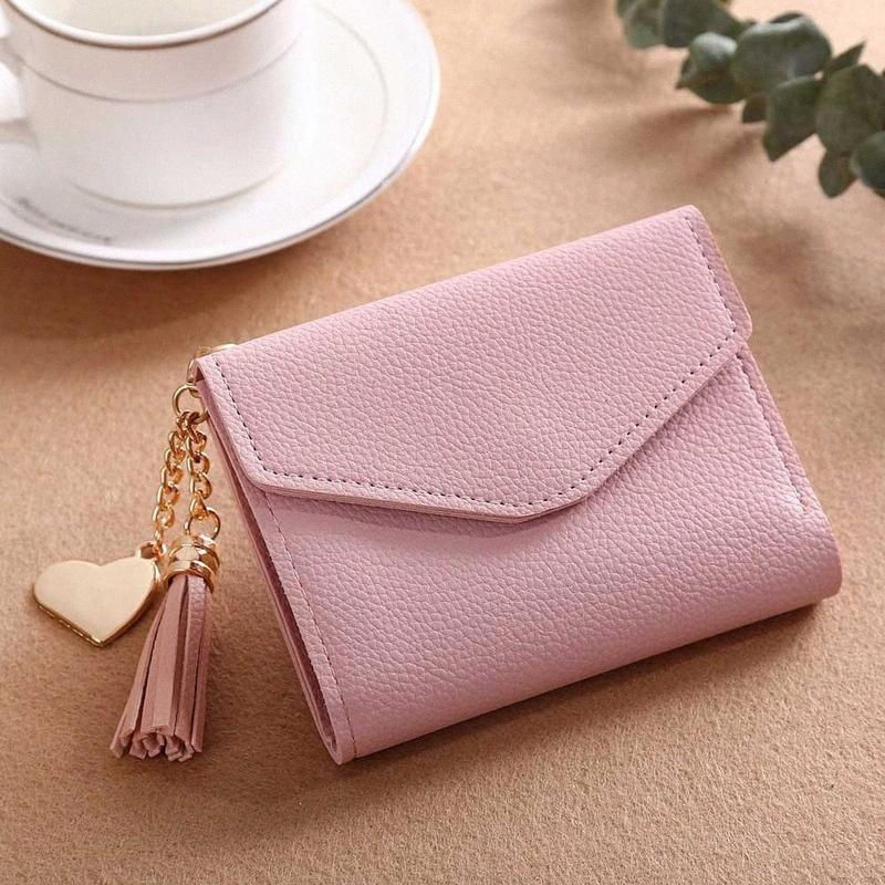 Womens Wallet Cute Student Tassel Pendant Short Wallet Trend Small Fashion PU Coin Purse Ladies Card Bag For Women #15 fhgo#
