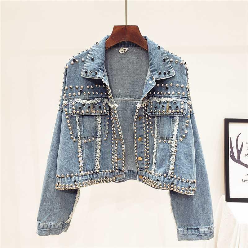 Punk Rock Short Rivet Diamond Blue Denim jacket Women Spring Autumn Streetwear Bat sleeves Chaquetas mujer Female Bomber jacket