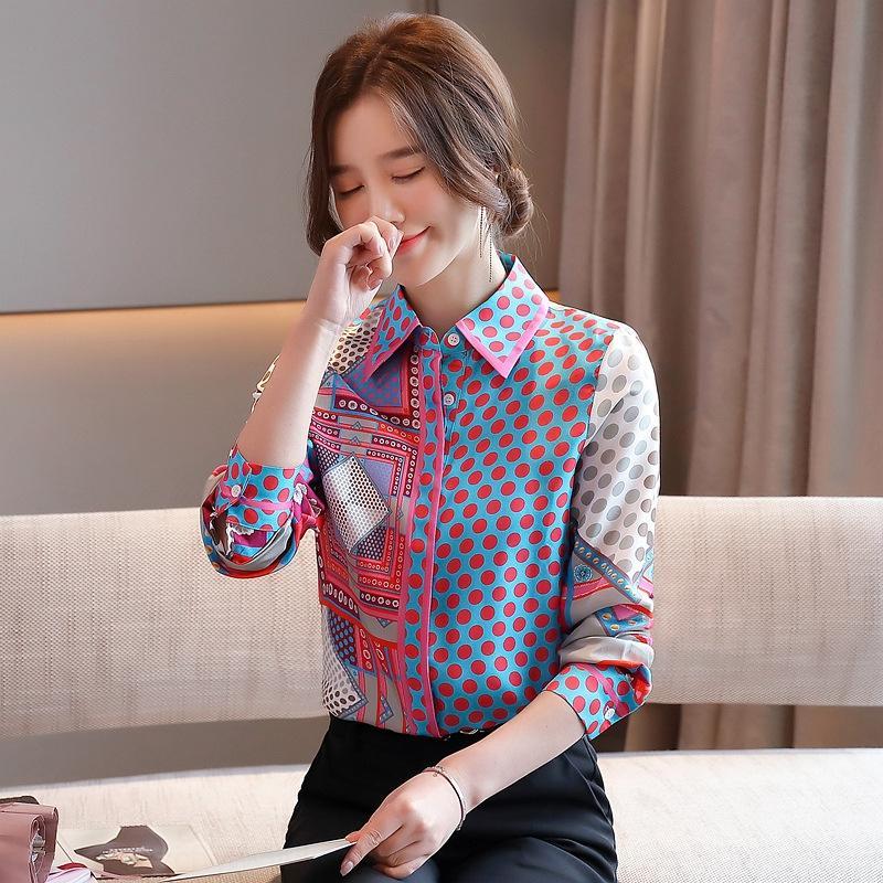 ONnHa 4qkMK célébrité Internet 2020 même de la soie Femme Automne nouvelle chemise en mousseline de soie sergé élégant style occidental imprimé soie comme chemise