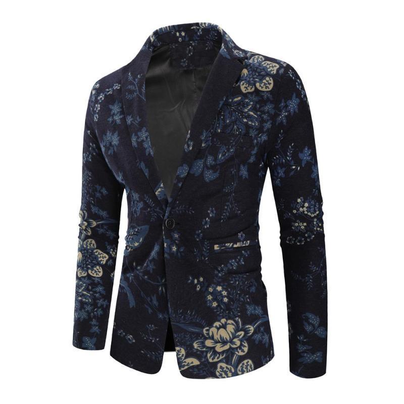 Blazers y chaquetas Blazer flor de algodón traje de hombre Ropa de Hombre floral del ajuste delgado de la manera azul