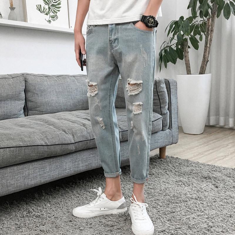 de jeans ix2YK Ripped moda até os tornozelos soltos novas podres 2019 homens verão calças nan shi ku tornozelo coreano moda pai estilo mendigo calças