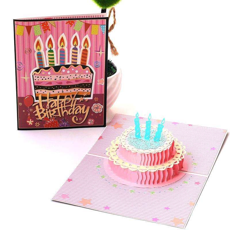 Creative Birthday Cake Greeting Cards Fashion Printed Hollow Paper Gretting Card Personality Birthday Card for Kids