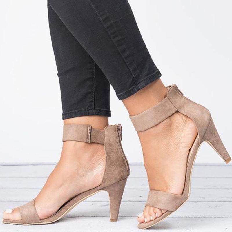 Женщины сандалии Середины пятки Открытый носок Туфли летние 5CM каблуки Сандалии Женщины Плюс Размер 43 Sandalias Mujer Тонкие пятки Женщина WSH3340 Y200405