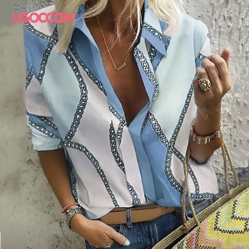 UGOCCAM Mulheres Blusas manga comprida Outono Blusa Mulheres Blusa Escritório elegante trabalho camiseta Plus Size Top blusas mujer de moda 200924