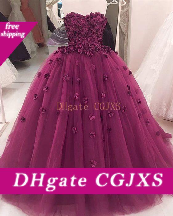 2020 Violet 3d Fleurs de bal Quinceanera perles bretelles Tulle lacent boule Robes dos ouvert douce 16 robe de soirée robes de soirée longue