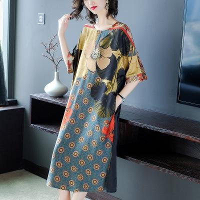 gran vestido nuevo Amplio Serie occidental del estilo noble 2020 tamaño de satén ropa de mujer fqoM1 Xiangyun vestido de la señora de mediana edad y de edad avanzada con viruela