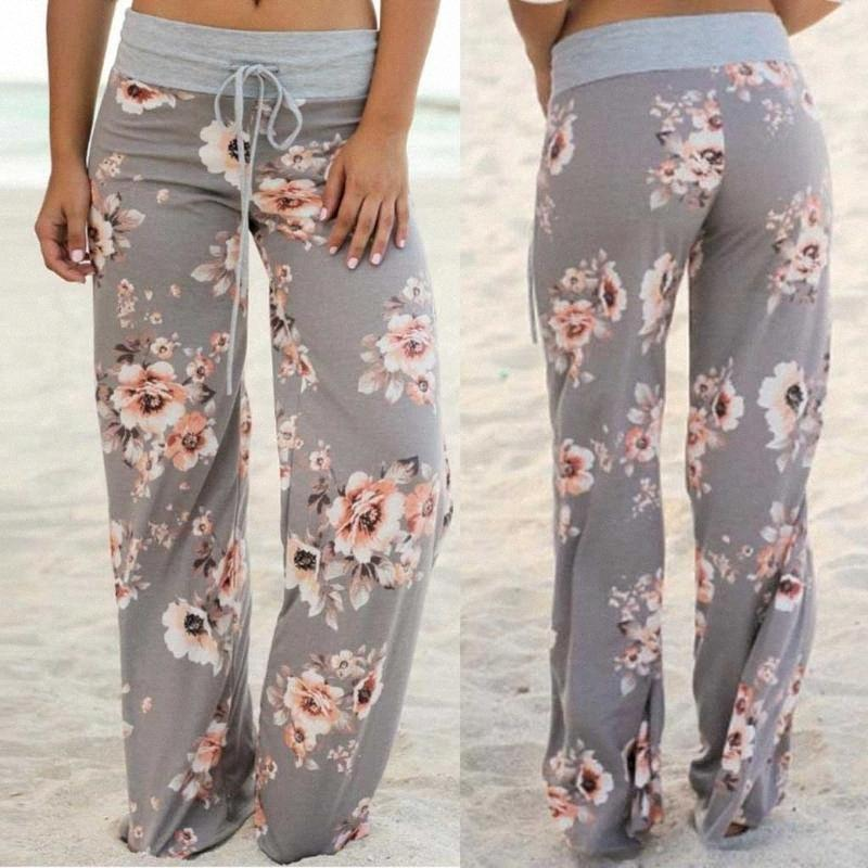 Femmes Casual Comfy stretch imprimé floral leggings Drawstring Fitness Yoga Pantalons palazzo Pantalon large Leg Lounge # 30 # 3Rkc