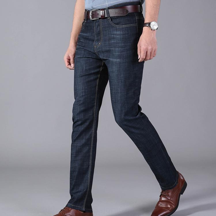 4ZrXC 2020 und Sommer neue Strecke der Männer Jeans lösen gerade Mitte der hohen Taille der beiläufigen Geschäfts dünne Jeans für Männer