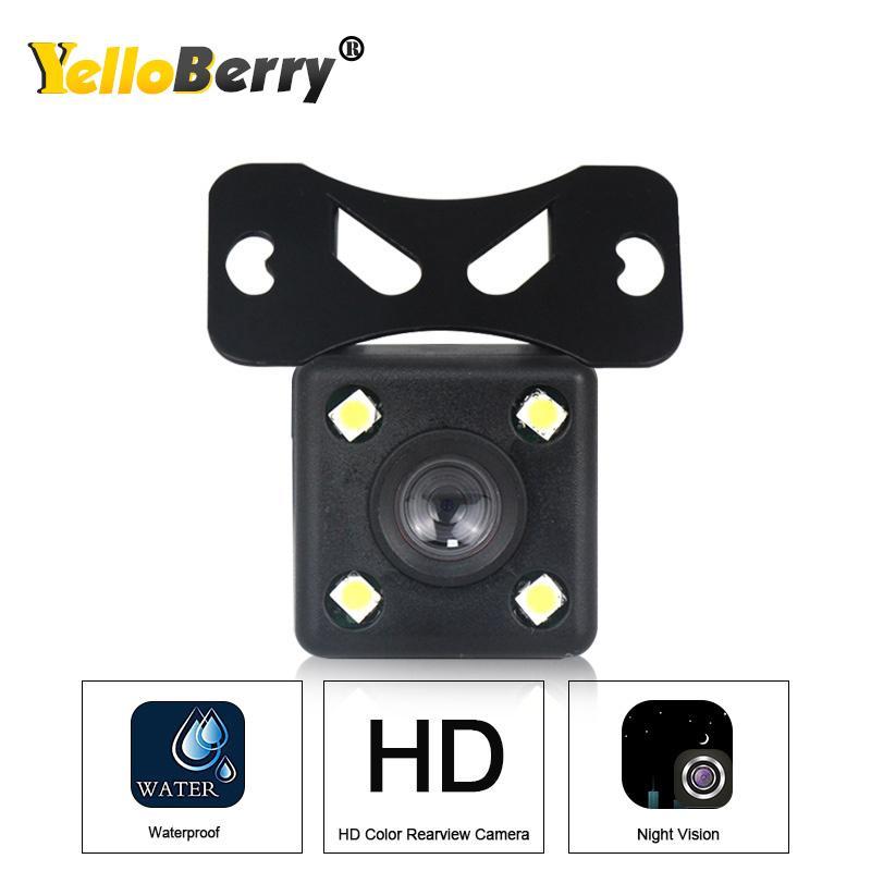 Yellowberry 4 LED voiture caméra arrière de voiture vue arrière HD vidéo de sauvegarde Caméra de recul vision nocturne HD Parking