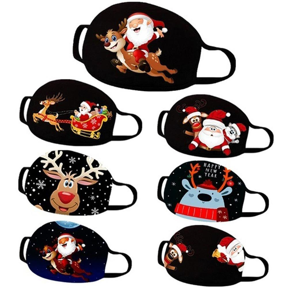 2020 рождественские маски лицевые маски рождественские рот повсеместливый моющийся мультфильм напечатанный анти пыль маска взрослый ребенок DHL