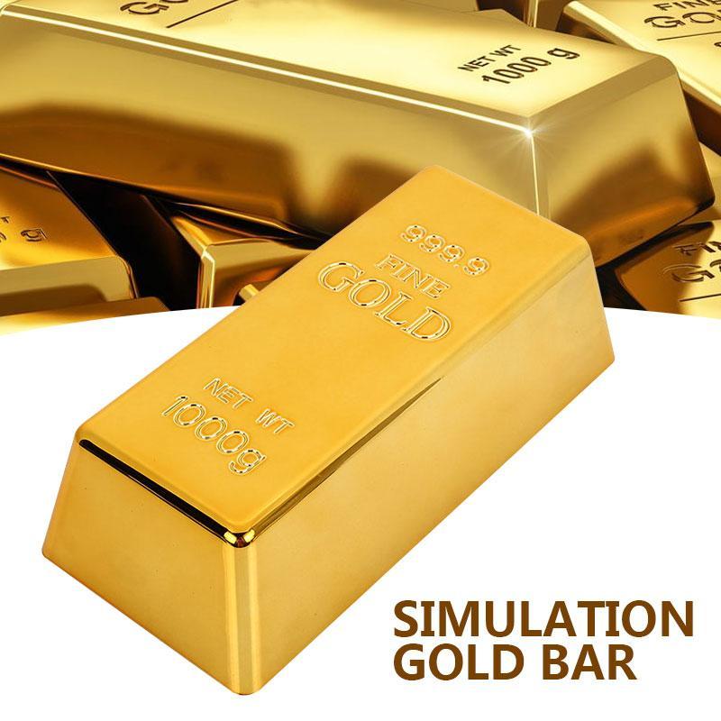 Gefälschte gold bar goldene kreative bullion tür halt papierwieg simulation tisch dekor deluxe gate stopper requisiten spielzeug büro geschenk