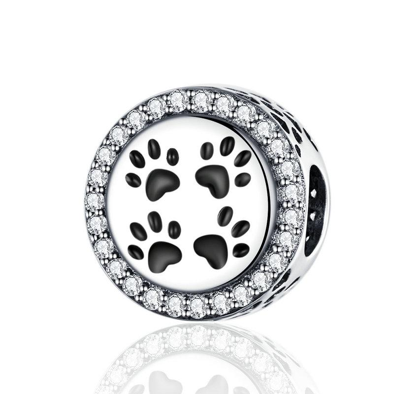 Vintage Nette Tierfußabdrücke Charme Perle Fit Pandora Armband Weihnachten Charms 100% Echt 925 Sterling Silber