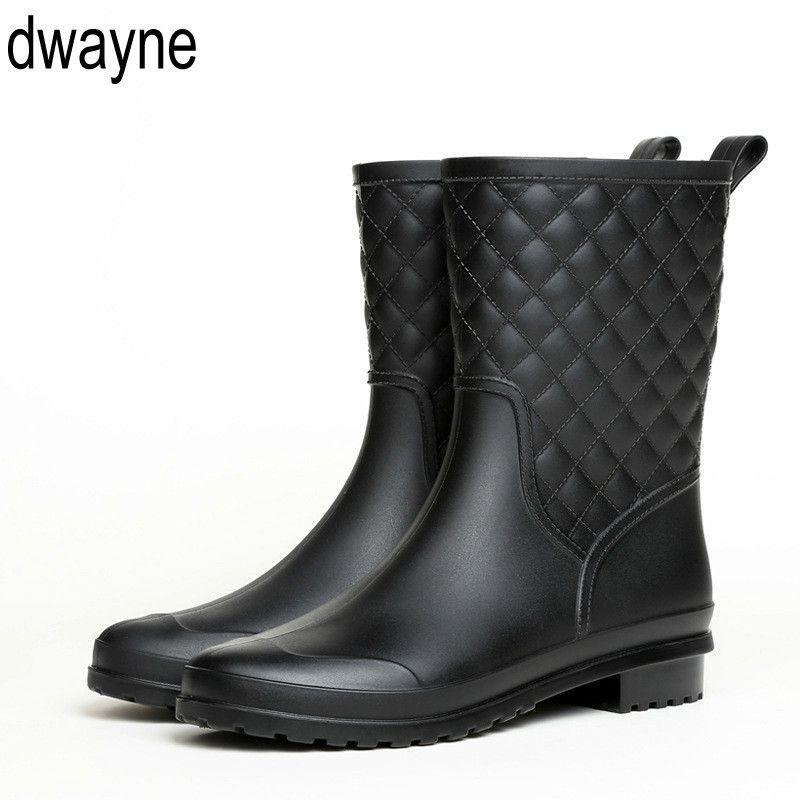 Mulheres botas de design da marca chuva Mulher bota de borracha sólida impermeáveis Shoes Flats Moda 2019 ghn7