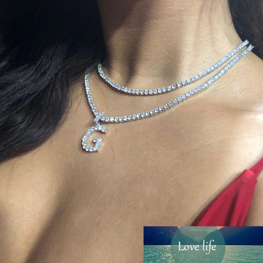 A-Z Zircon Letters Collar Colgante para Hombres Mujeres Gold Silver Color Hiphop Jewelry con cadena de tenis de 4 mm