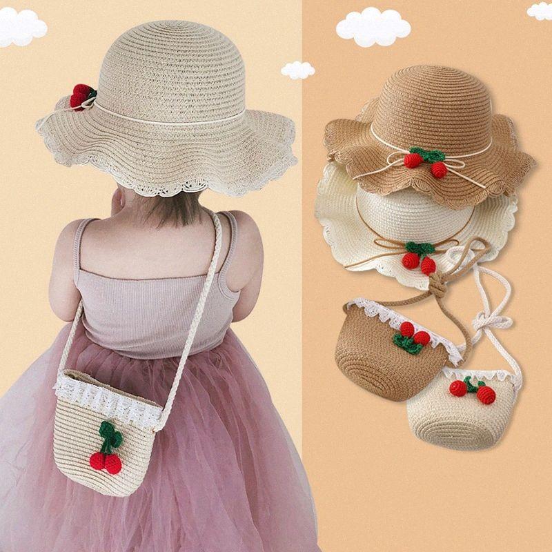Summer Sun Hat Девушка Бич солома сумка ведро шляпа Набор Широкий Бреют Симпатичный панаму Ребенок сумка Cap костюм Дети Защита от ультрафиолетовых лучей Caps Tote rZar #