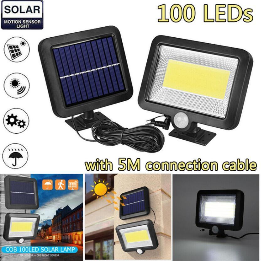 .100LED COB تعمل بالطاقة الشمسية ضوء الشارع أضواء مصباح للطاقة الشمسية في الهواء الطلق حديقة ليلة الأمن سبليت الحائط ضوء الإضاءة الشمسية 2PCS