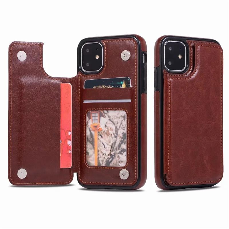 Luxury PU Leather Phone Case for iPhone 12 11 Pro Max Wallet Case for iPhone XR Xs SE Cover Kickstand with Card Slots