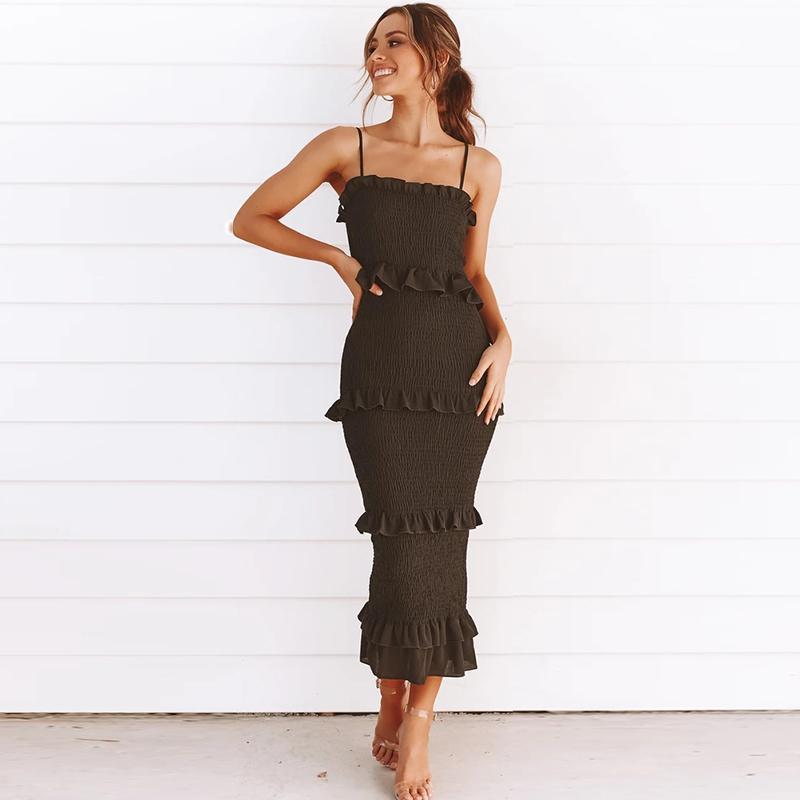 2020 Повседневный платье партии Женщины оборками Vestidos Плюс Размер Natural Твердая платье Летняя мода Sling Длинные платья женщин