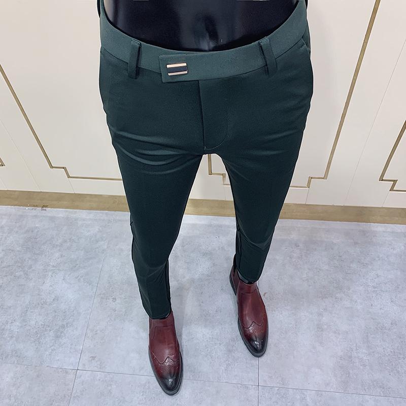 2020 Yeni Erkek Sosyal Pantolon Moda Ince Düğme Takım Pantolon Erkekler Yeşil Pantolon Sokak Giyim Erkekler Iş Ince Elbise Katı Suit Pantolon