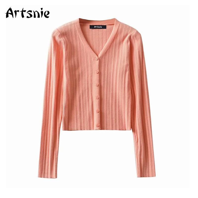 Artsnie Sweet Pink Cardigans Femmes d'hiver 2020 col V à manches longues Pull Femme Vintage unique poitrine Cardigans Pulls recadrées