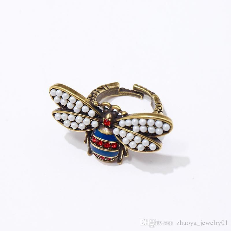 Copper-based retro Pearl double-winged bee red and blue diamond ring luxury designer jewelry women rings bee ring