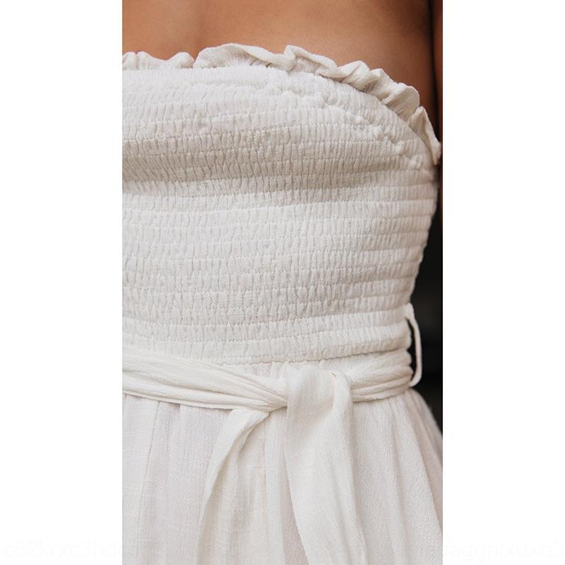 2020 elbise pamuk keten serisi keten lAuQ5 VJMlX kadın yeni Pamuk elbise flounced bağcıklı ve