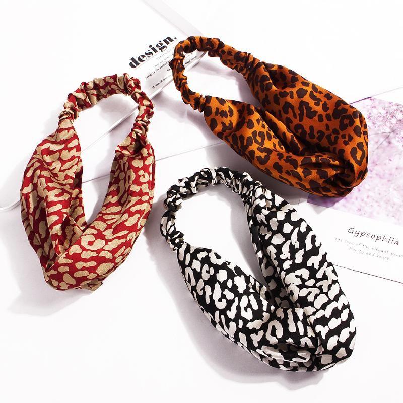 Acessórios de cabelo Moda Na moda Letter criativa Impresso Hairband Elastic Knot Leopard Hairband