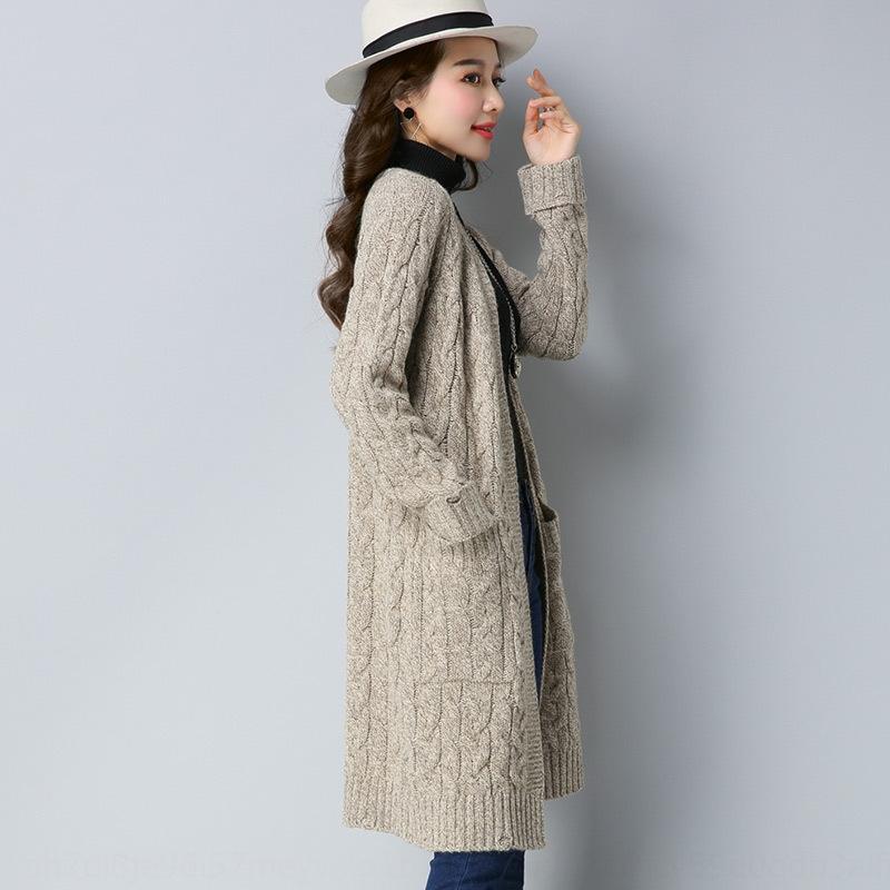 uYQMO 2019 et à l'automne chandail manteau coréenne chandail style manteau lâche usure externe nouveau au début du printemps Cardigan en maille mi-longueur du ressort des femmes