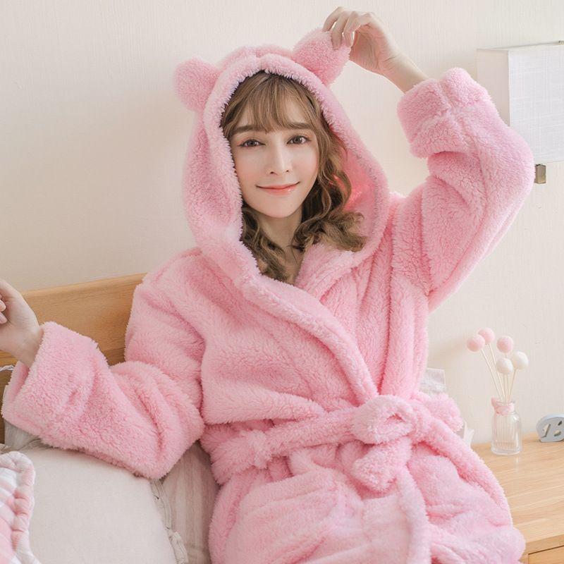 Herbst-Winter-Bademantel Thick Coral Velvet Nightgown Damen netten Haupt Wear Pajama One-Piece Nachtwäsche Bademantel Lounge Negligee