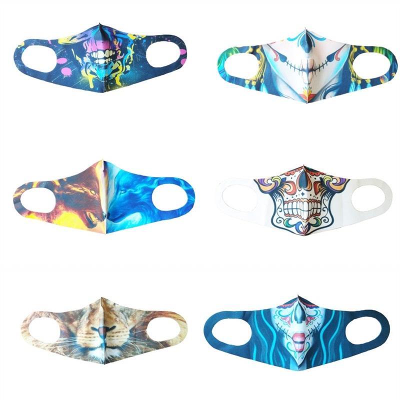Máscaras gancho dobrável cara Halloween Resistência ao Desgaste pano Mascarilla Padrão Respiratório lavável Respiradores Lobo Unisex Hot Sale 3hta E2