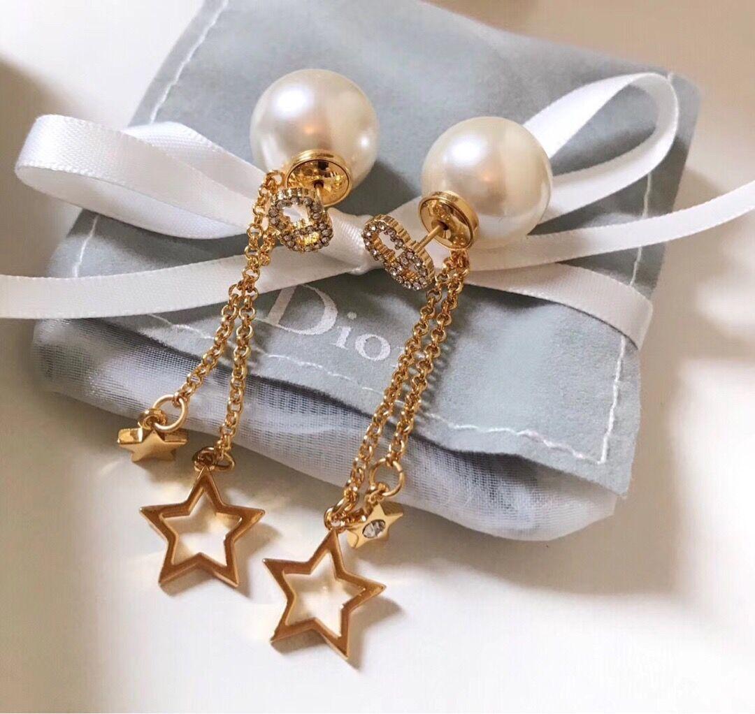D design de luxe chaîne perles Boucles d'oreilles femmes bijoux designer star bijoux dame bal cadeau boucles d'oreilles de luxe formel de mode estampillé