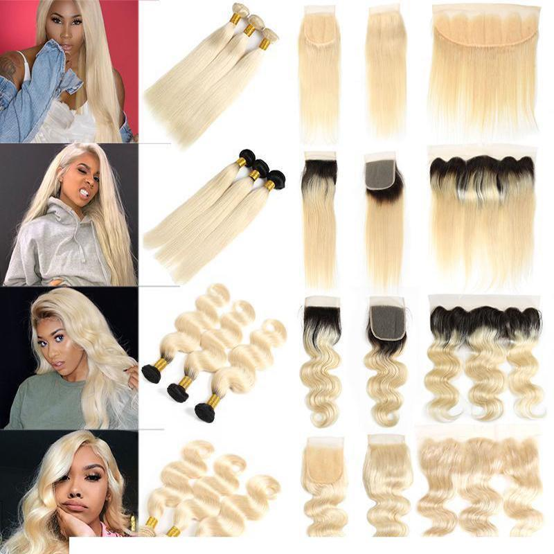 H Brazilian Straight Virgin Hair 613 Blonde Bundles With Lace Frontal Ear To Ear Peruvian 1b 613 Body Wave Human Hair Bundles With Clos