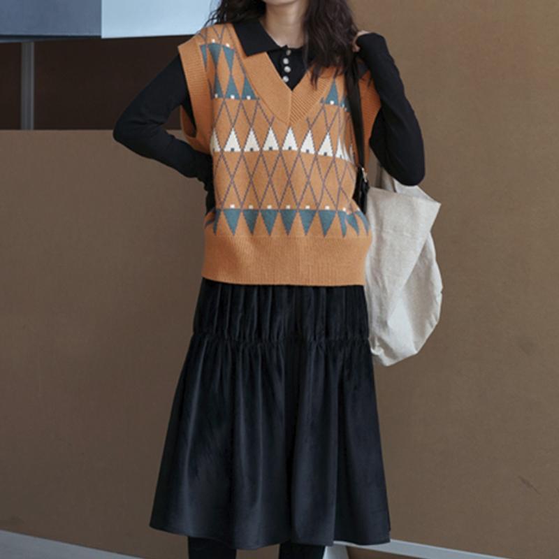 Red Plaid College Pull Vintage Femmes Gilet en tricot de coton sans manches en vrac Débardeurs 2020 Gilet Automne Nouvelle-coréen de la mode