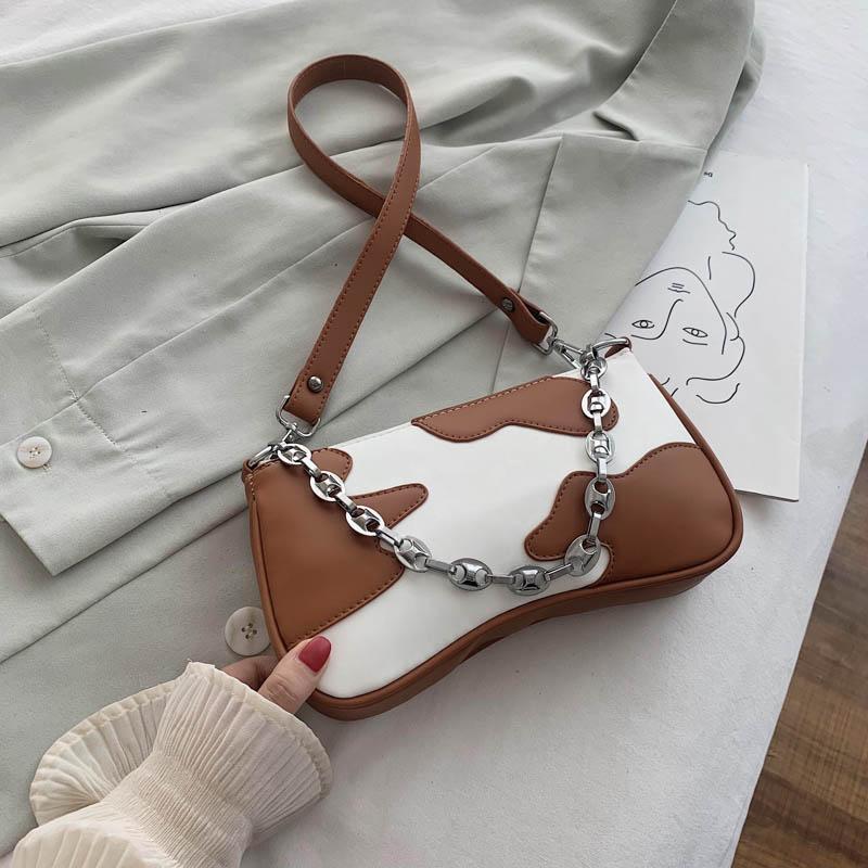 Dibujos animados de ocio Imprimir cuero de la PU del bolso de Crossbody del hombro para las mujeres 2020 manera de la cadena bolsos de viaje femenina de la cadena Cross Body Bag