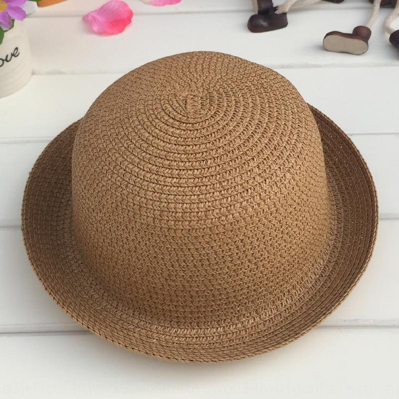 de los nuevos niños del sol del verano tapa de la cabeza del casquillo del sombrero pequeño sombrero cabeza redonda de 12 colores