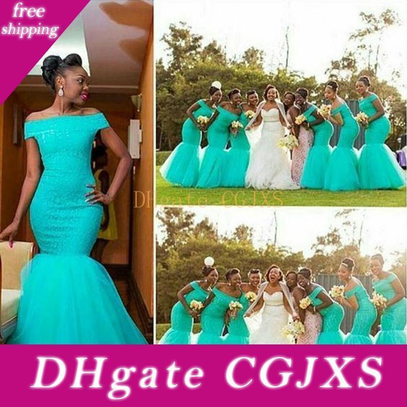 Güney Afrika Stil Mavi Gelinlik Modelleri 2016 Onur törenlerinde İçin Düğün Turkuaz Tül Örgün Elbise Of Omuz Artı boyutu Mermaid Maid Kapalı
