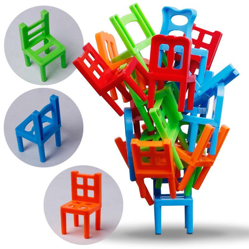 24pcs mini presidenza Balance blocchi giocattolo di plastica blocchi di montaggio sedie impilabili giocattolo del gioco di addestramento Balancing Kids Family Educational