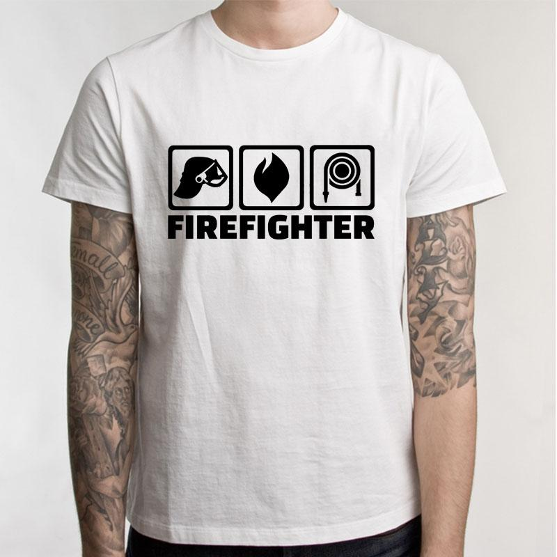 Verão Estilo manga curta Evolução do t-shirt camiseta Um bombeiro sapador bombeiro